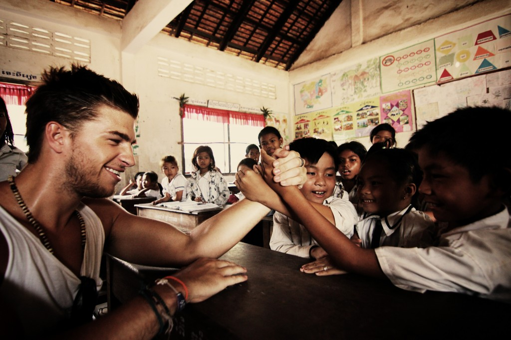 Arm Wrestle in a Cambodian Elementary School