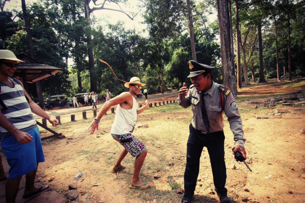 Having fun with a Cambodian Security Guard